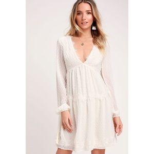 LULUS Wistful Moment White Swiss Dot Dress NWT